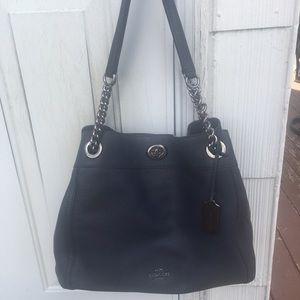 Coach navy blue shoulder bag